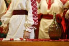 National Ukrainian drink in a glass bottle stock photo