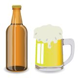 Bottle and mug of beer Stock Image