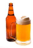 Bottle and mug of beer with Condensation Stock Photo