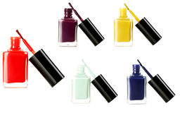 Bottle of nail polish. Isolated on a white, collage Royalty Free Stock Photo
