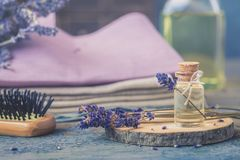 Bottle of natural cosmetic lavender oil, hair and body treatment, wooden massage brush on the background. Bottle of natural cosmetic lavender oil, hair and body stock photography