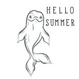 Bottle nose sea dolphin sketch with calligraphy Hello summer in. Hand drawn doodle style. Vector illustration for t-shirt print, tattoo design Royalty Free Stock Photography