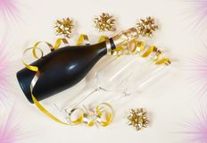 Free Bottle Of Champagne And Two Glasses Royalty Free Stock Photo - 110306565
