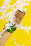 Bottle Of Champagne, Cork And Splashing Royalty Free Stock Images