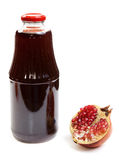 Bottle Of Juice And Ripe Piece Grenade Stock Photos