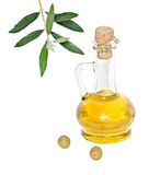 Bottle Of Olive Oil And Olive Fruits Stock Photography