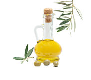 Bottle Of Olive Oil And Olive Fruits Stock Images