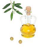 Bottle Of Olive Oil And Olive Fruits Royalty Free Stock Photos