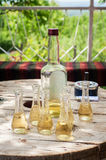 Bottle Of Plum Brandy With Small Glasses On Wooden Table Royalty Free Stock Photo