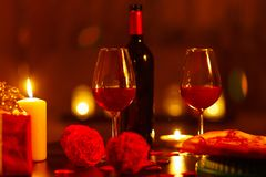 Free Bottle Of Red Wine And Glasses. Stock Photography - 109650022