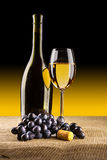 Bottle Of Vine With Glass And Grape Royalty Free Stock Photography