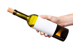 Bottle Of White Wine In His Hand Isolated On White Background Stock Photography