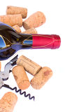 Bottle ofred  wine wth corks Royalty Free Stock Images