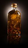 Bottle with oil and aromatic herbs. Backlit glass bottle with oil and aromatic herbs Stock Photography