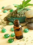 Bottle of oil, bath salts and stones Stock Photos