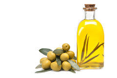 Bottle of oil with a branch inside. Royalty Free Stock Photography