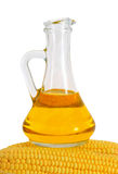 Bottle with oil and a corncob. Stock Photo