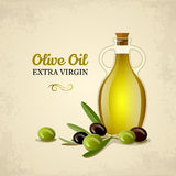 Bottle of oil with green and black olives Royalty Free Stock Photography