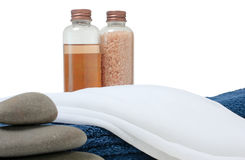 Bottle with oil and sea salt in the towel Stock Photos