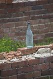 The bottle. Old glass bottle left in the ruins of train station in historic Petersburg Va Royalty Free Stock Images