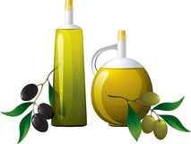 Bottle and olive branch. Bottle of oil and olive branch Royalty Free Stock Photo