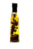 Bottle of olive oil. Bottle of an olive oil with plants Royalty Free Stock Photo