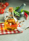 Bottle of Olive oil and Basil Stock Photography