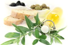 Bottle of olive oil with branch. Bottle of olive oil with fresh olives, crispy baguette and olive branch on a bright background Stock Photography