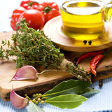 Bottle of Olive oil and condiments Royalty Free Stock Images