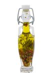 Bottle of olive oil with herbs  isolated Stock Images