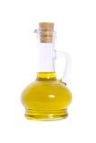 Bottle of olive oil isolated on white background. Olive oil in glass bottle with cork isolated on white background Stock Photos