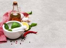 Bottle with olive oil. Olive oil with  spices and   green basil on a table Stock Images