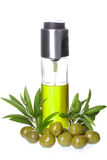 Bottle of olive oil with olives and  leaves Royalty Free Stock Photography