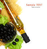 Bottle of olive oil with pasta Royalty Free Stock Photo
