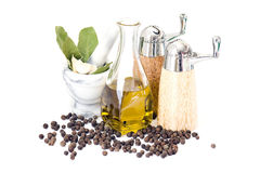 Bottle of olive oil and spices Royalty Free Stock Photo