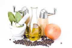 Bottle of olive oil and spices Stock Photo