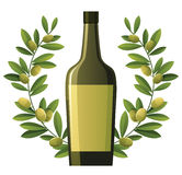Bottle of olive oil with wreath Royalty Free Stock Photos
