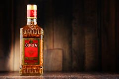 Bottle of Olmeca Tequila Gold Royalty Free Stock Photo