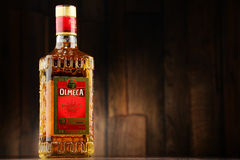 Bottle of Olmeca Tequila Gold Royalty Free Stock Image