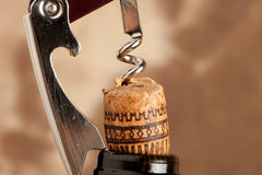 Bottle opener. Photo of a bottle opener which is pulling out a cork out from a wine bottle Stock Photography