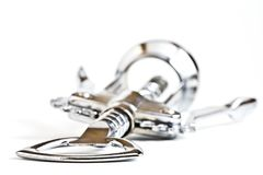 Bottle opener / corkscrew closeup isolated on whit Stock Photos
