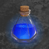 Bottle with orange potion. Game icon of magic elixir. Bright design for app user interface. Magic, mana, intellect Stock Image