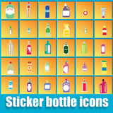 Bottle in orange square Royalty Free Stock Images