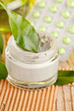 Bottle of organic cream Stock Images