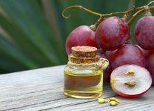 Bottle of organic grape seed oil for spa and bodycare and fresh ripe grapes berries on old wooden table. Healthy food,Bio,Eco products concept.Selective focus stock image
