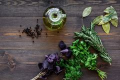 Bottle with organic oil with herbs ingredients on wooden background top view. Bottle with organic oil with herbs ingredients on wooden kitchen table background Royalty Free Stock Photography