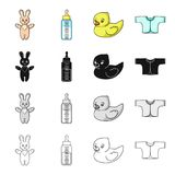 A bottle with a pacifier for feeding, a children`s loose shirt, bunny and duckling toys. Care for a child set collection Stock Image