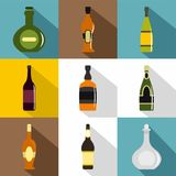 Bottle packaging icon set, flat style Royalty Free Stock Photography