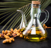 Bottle of Palm Oil and palm fruits Royalty Free Stock Images