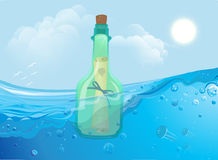 Bottle with paper floating in the ocean waves. Vector royalty free illustration